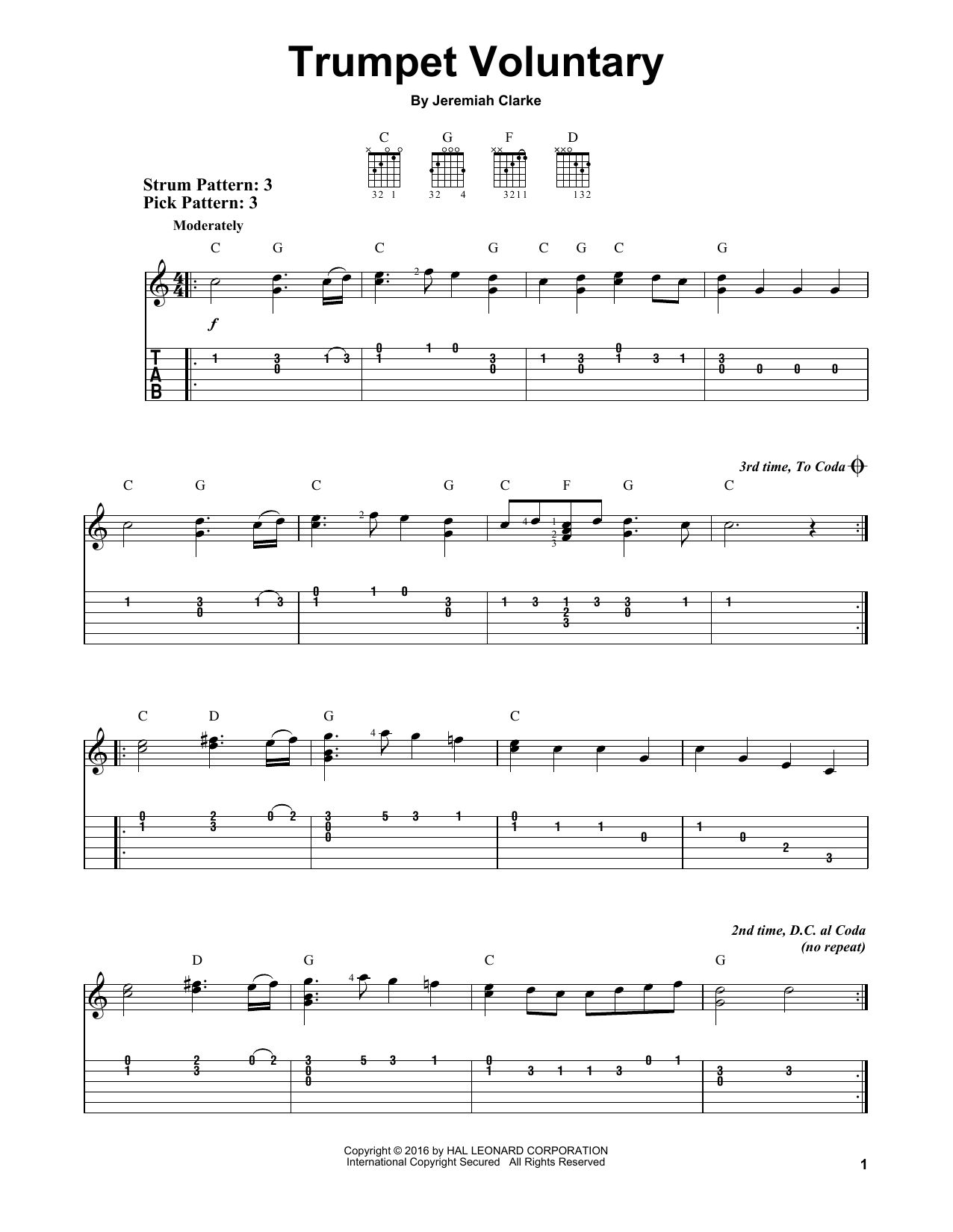 Tablature guitare Trumpet Voluntary de Jeremiah Clarke - Tablature guitare facile