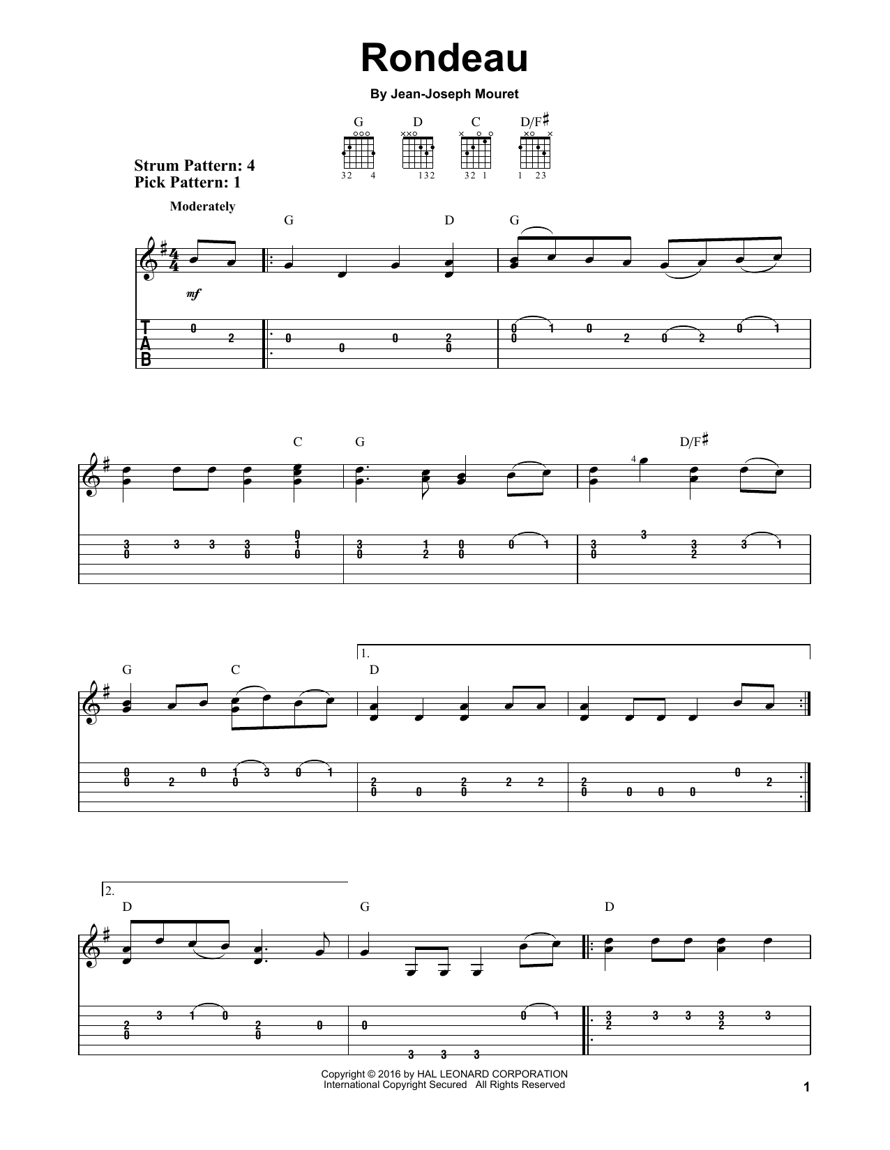 Tablature guitare Rondeau de Jean-Joseph Mouret - Tablature guitare facile