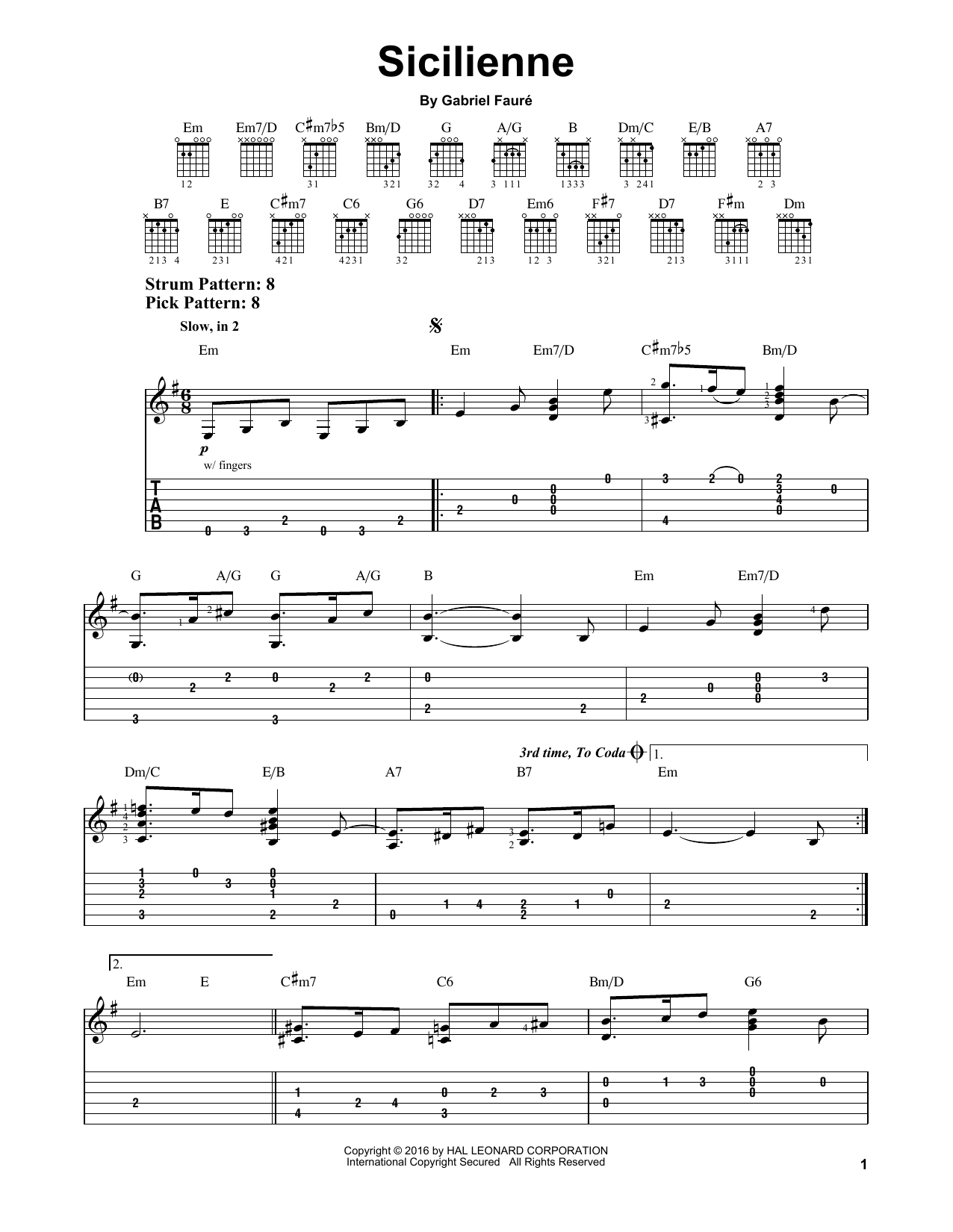 Tablature guitare Sicilienne de Gabriel Faure - Tablature guitare facile