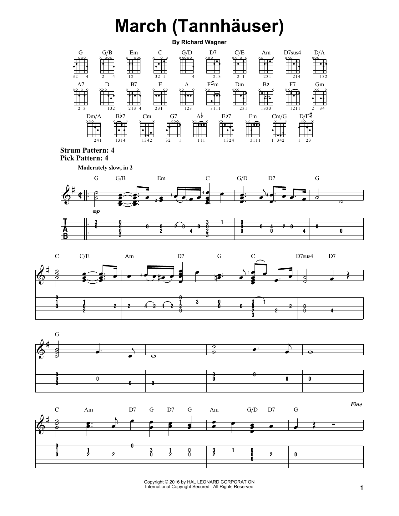 Tablature guitare March (Tannhauser) de Richard Wagner - Tablature guitare facile