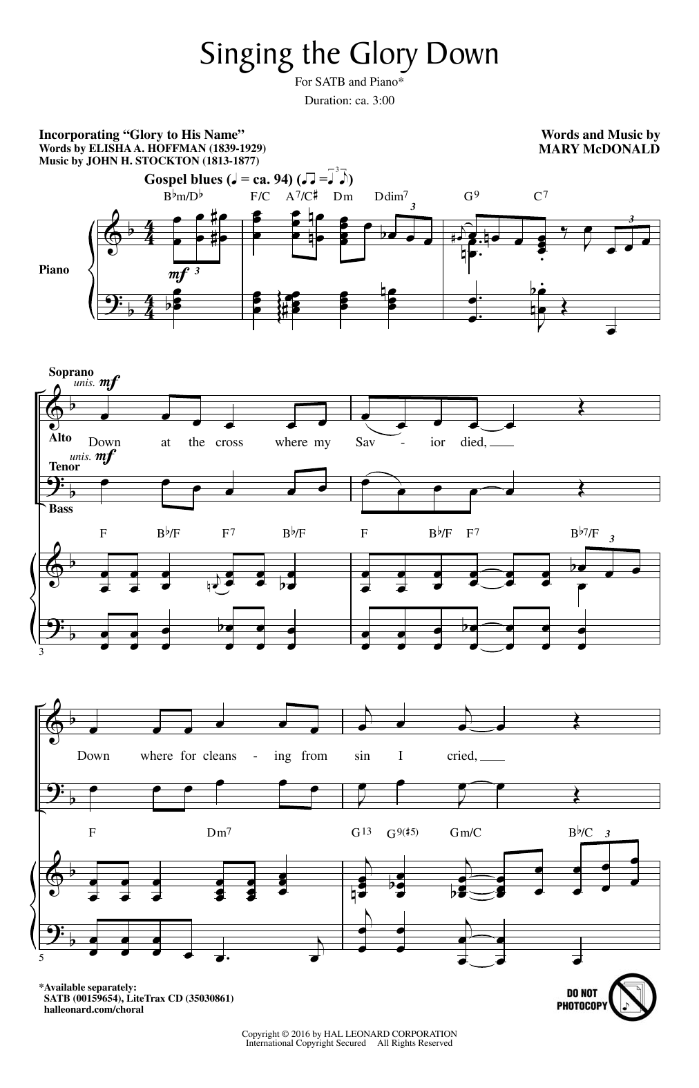 Singing The Glory Down Sheet Music