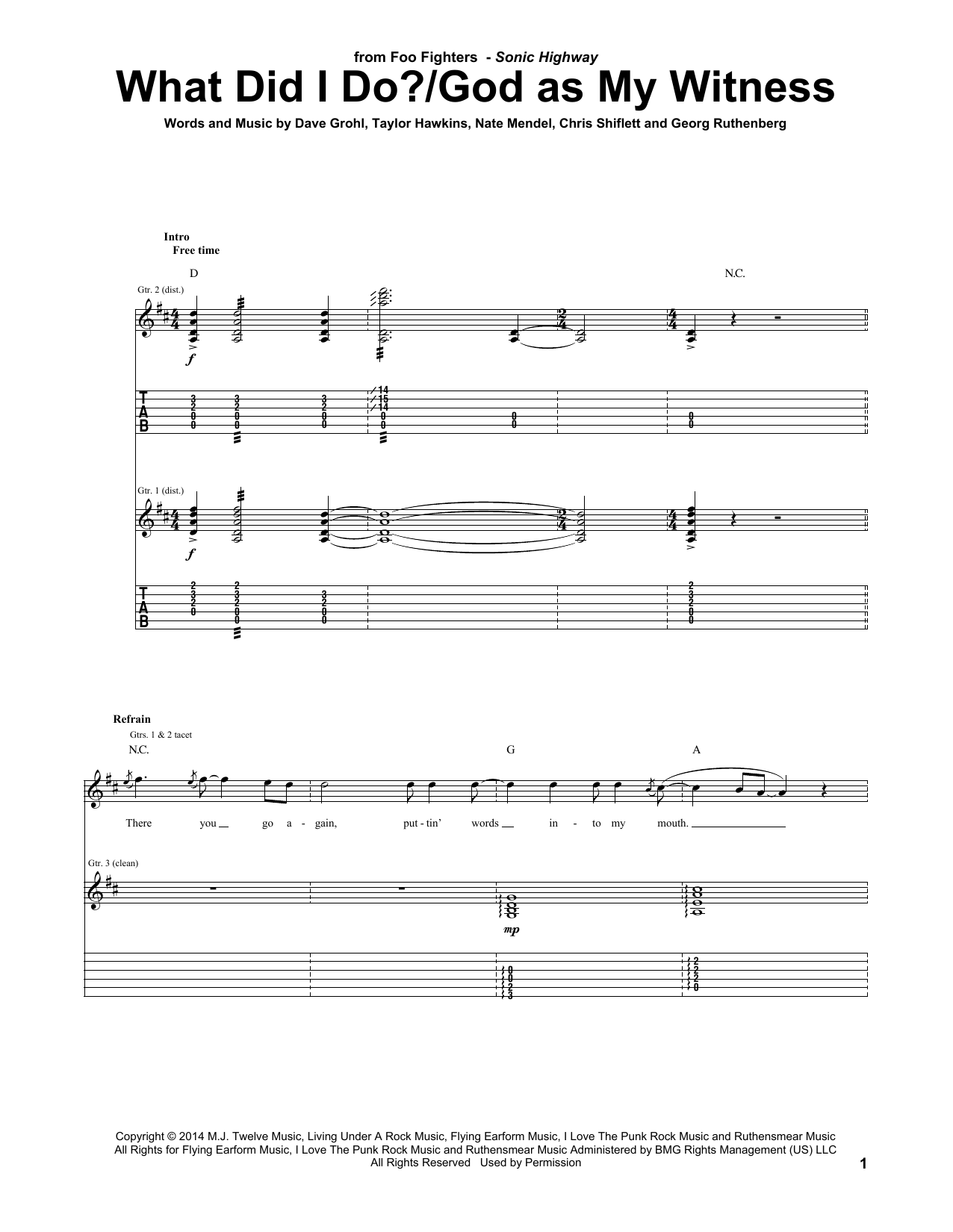 What Did I Do?/God As My Witness Sheet Music