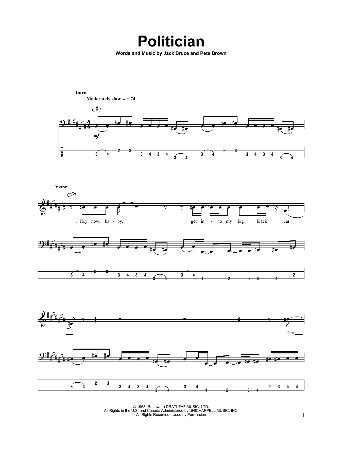 Politician Sheet Music