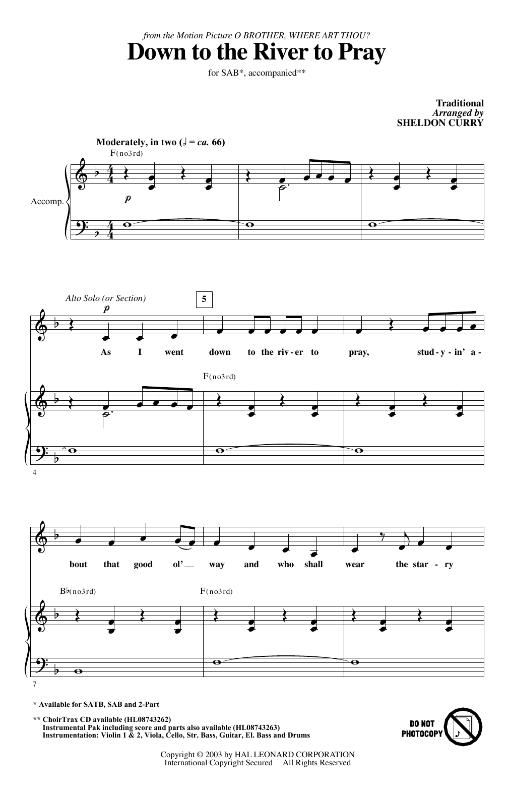 Down To The River To Pray Sheet Music