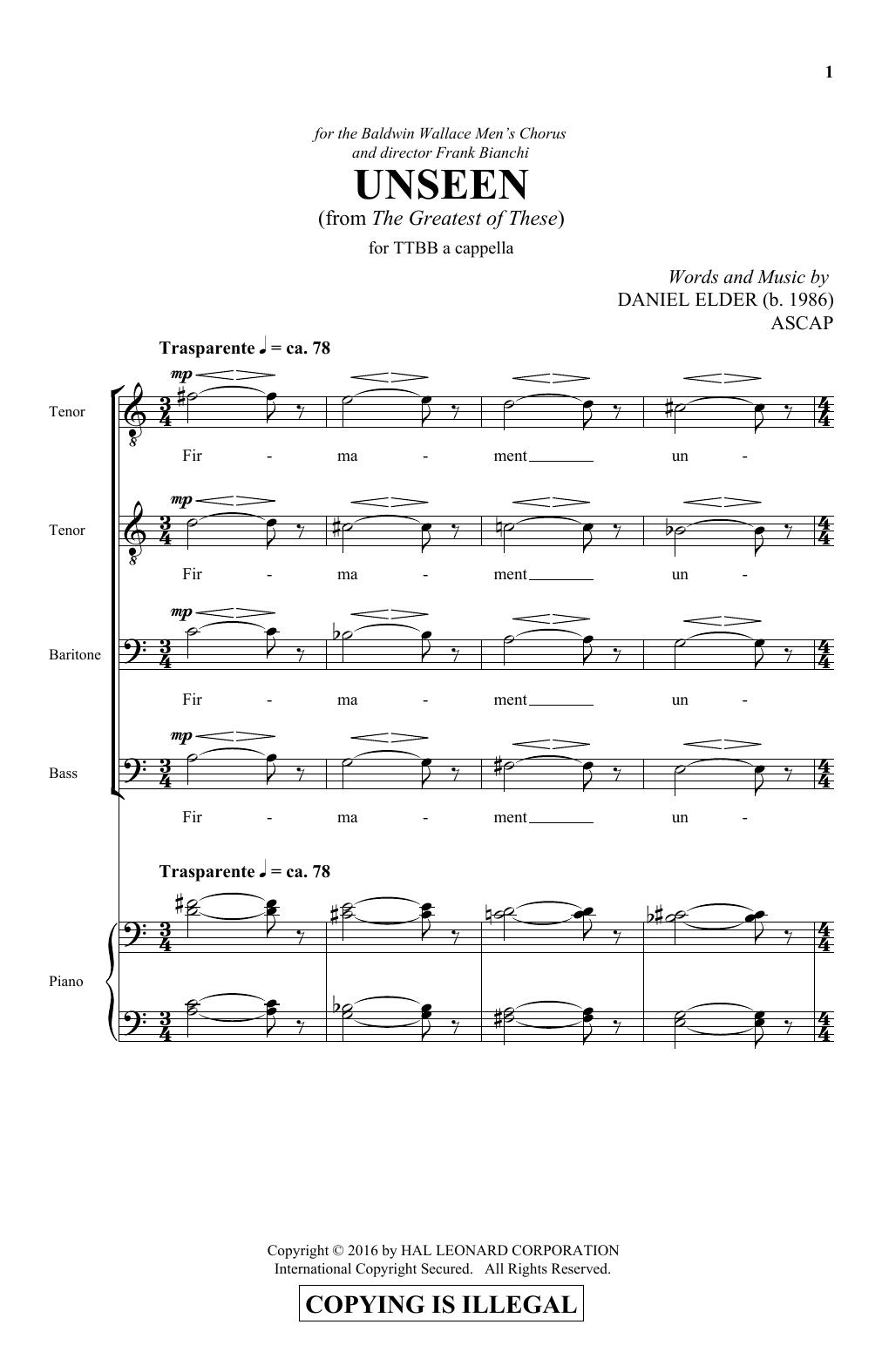 Unseen (TTBB Choir)