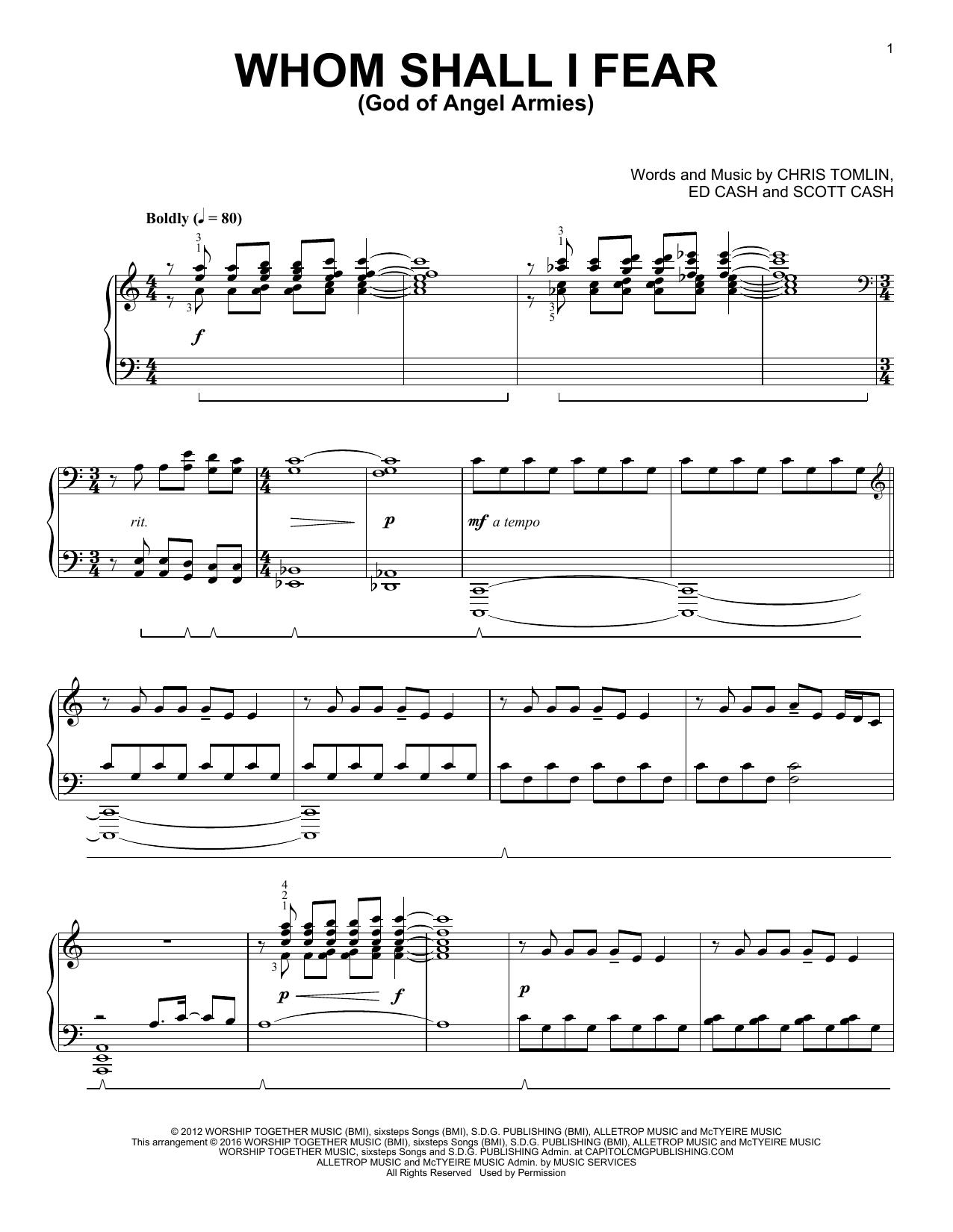 Whom Shall I Fear (God Of Angel Armies) (Piano Solo)