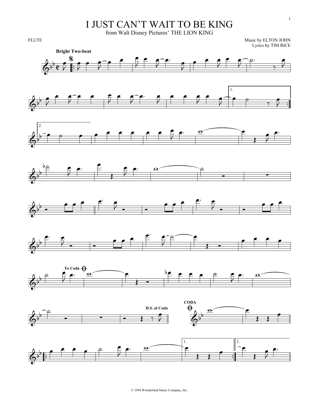 I Just Can't Wait To Be King (Flute Solo)