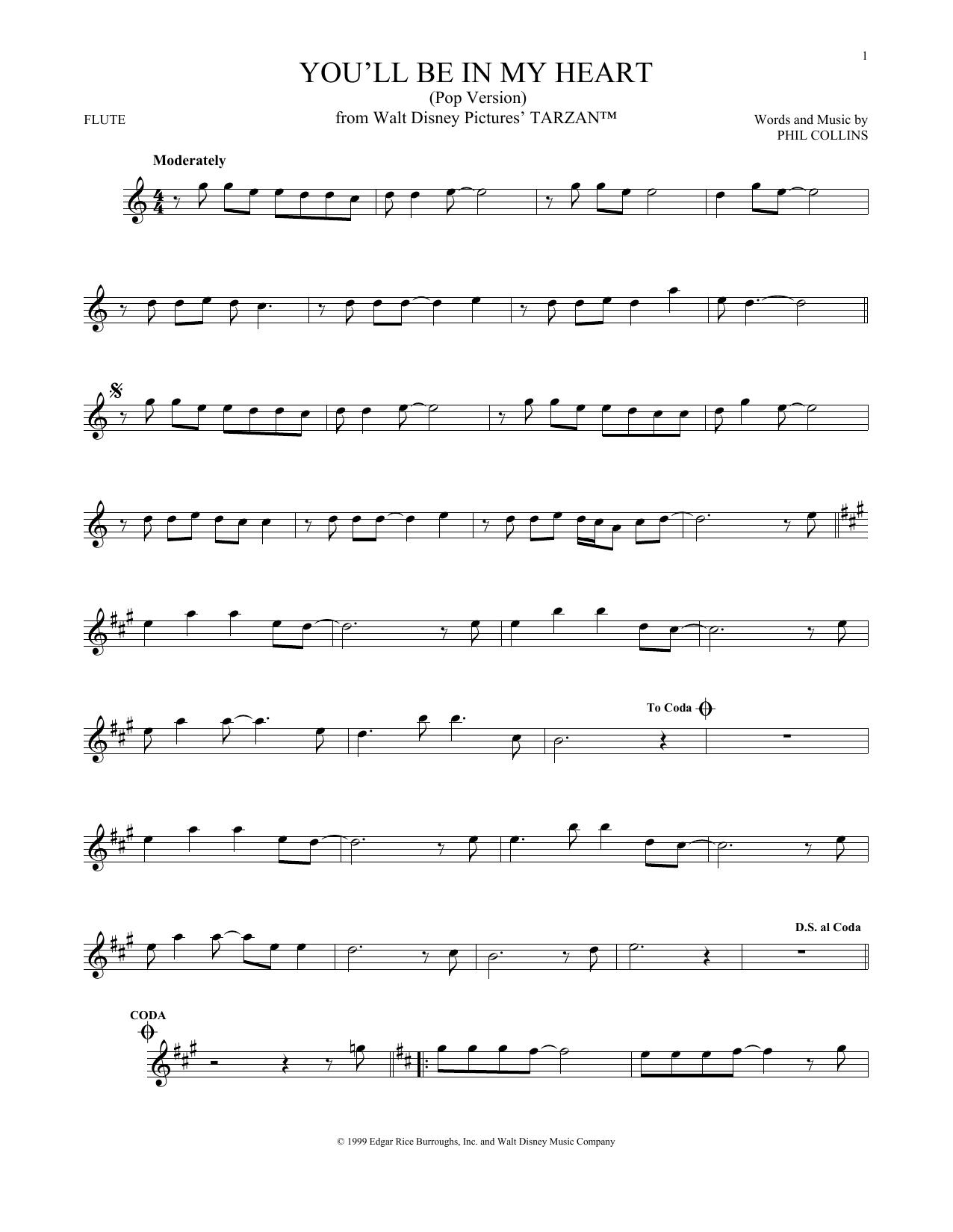 Partition flûte You'll Be In My Heart (Pop Version) de Phil Collins - Autre
