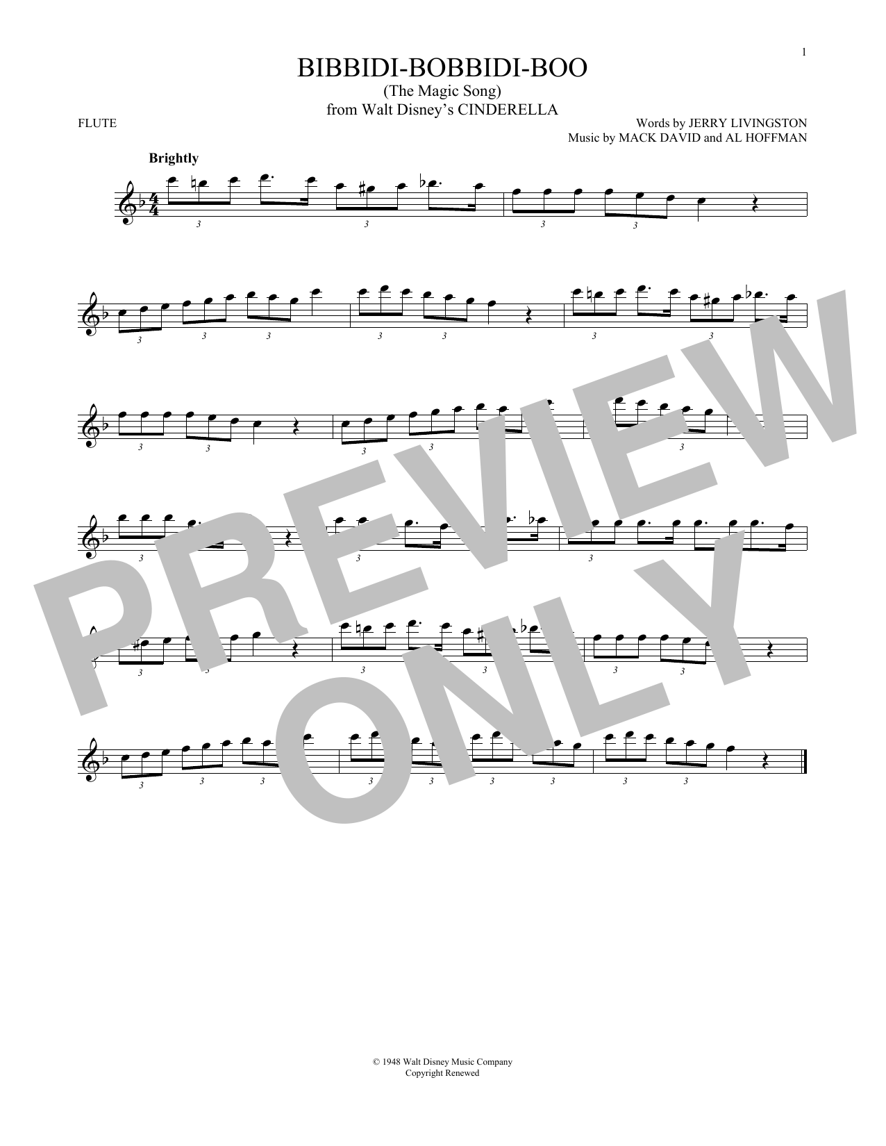 Bibbidi-Bobbidi-Boo (The Magic Song) (from Disney's Cinderella) (Flute Solo)