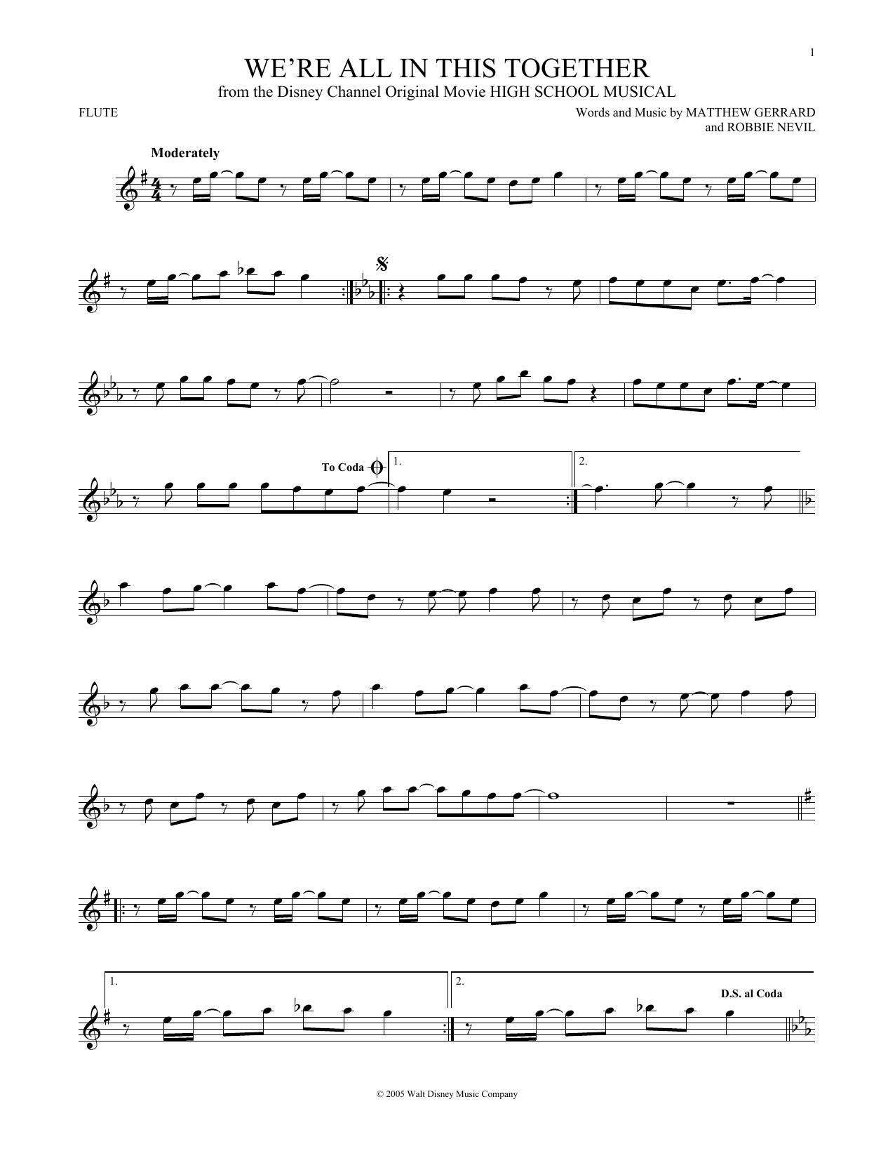 Partition flûte We're All In This Together de Matthew Gerrard - Autre