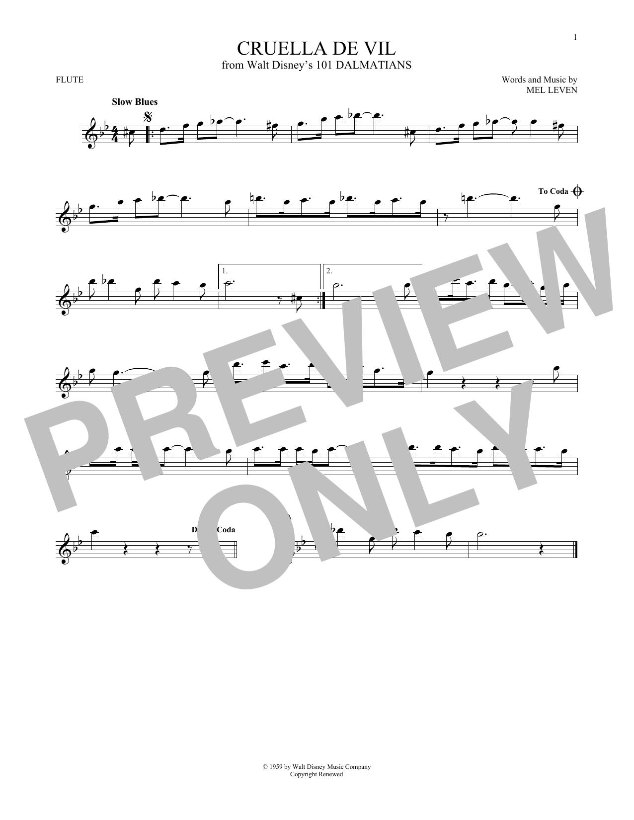Partition flûte Cruella De Vil de Mel Leven - Autre