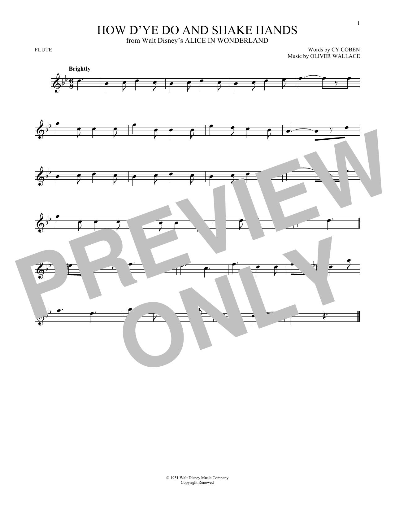 Partition flûte How D'ye Do And Shake Hands de Cy Coben - Autre