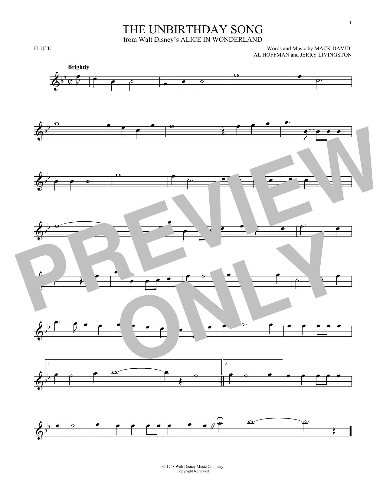 Partition flûte The Unbirthday Song de Jerry Livingston - Flute traversiere