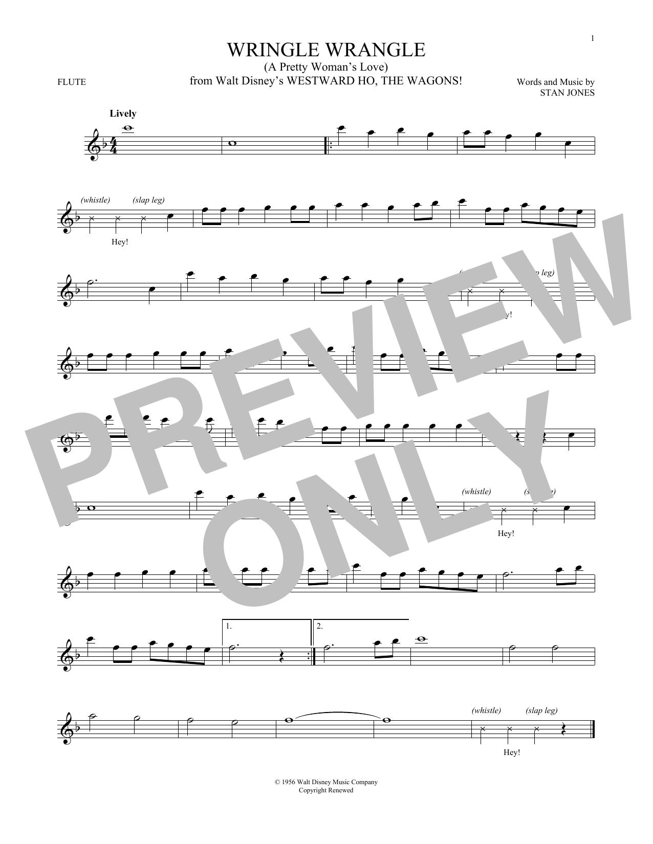Partition flûte Wringle Wrangle (A Pretty Woman's Love) de Stan Jones - Autre