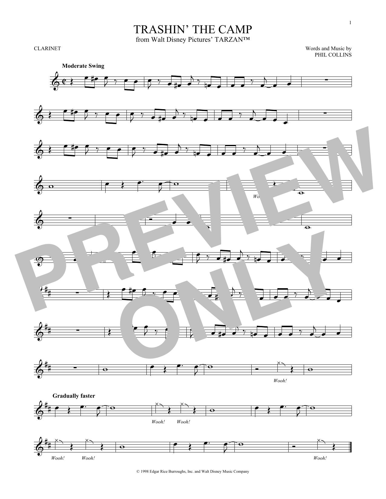 Partition clarinette Trashin' The Camp de Phil Collins - Autre