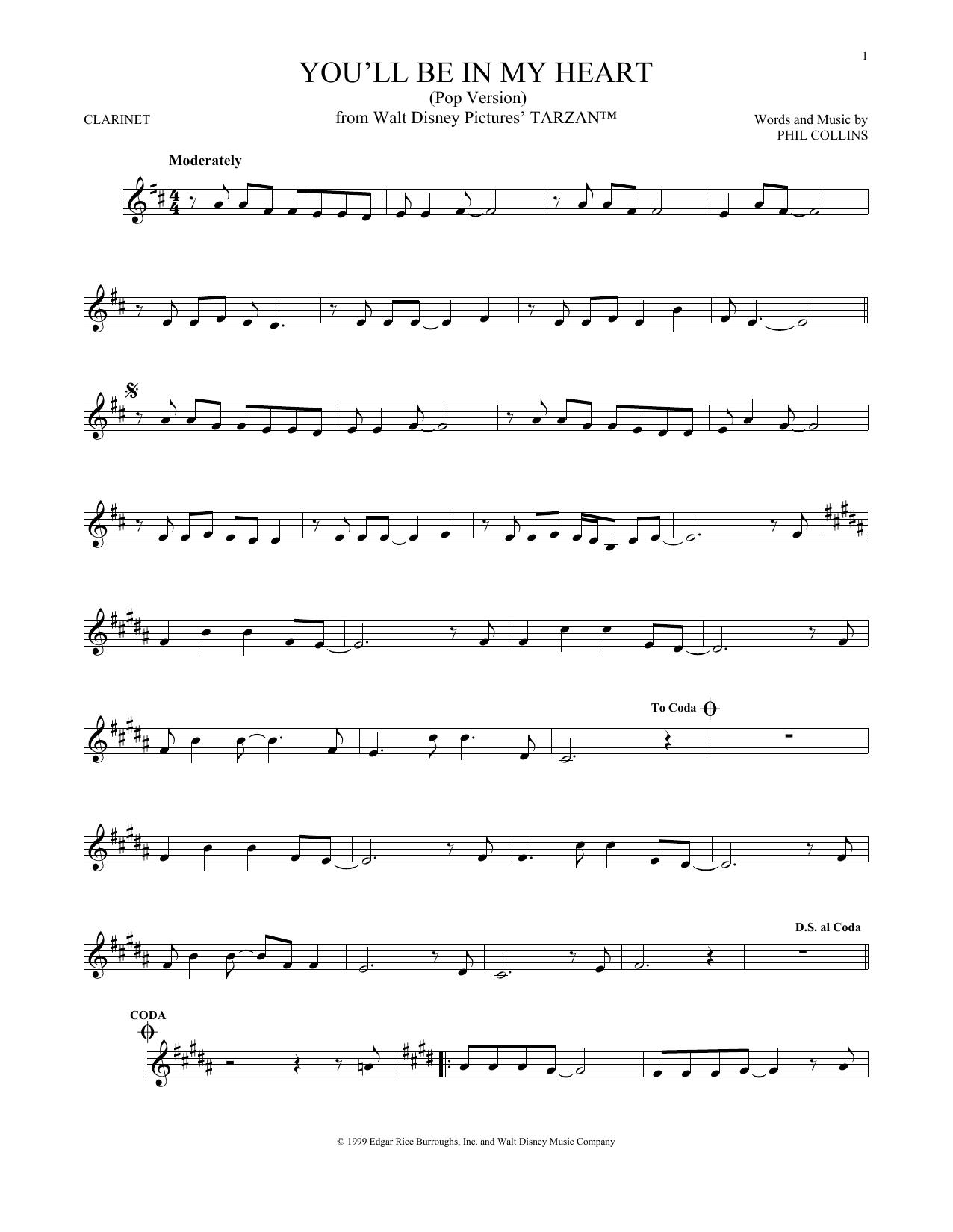 Partition clarinette You'll Be In My Heart (Pop Version) de Phil Collins - Autre
