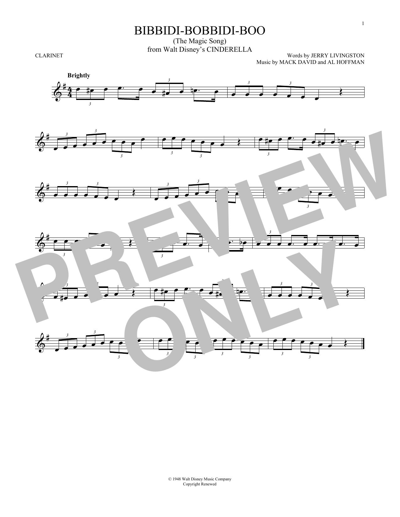 Bibbidi-Bobbidi-Boo (The Magic Song) (Clarinet Solo)