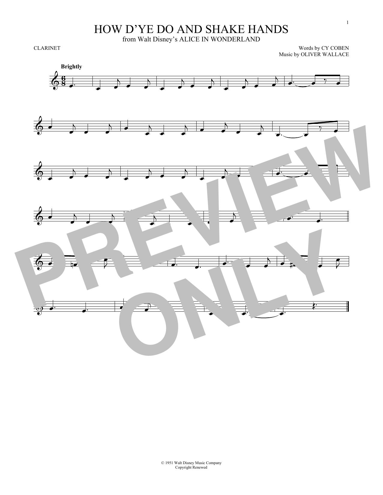 Partition clarinette How D'ye Do And Shake Hands de Cy Coben - Autre