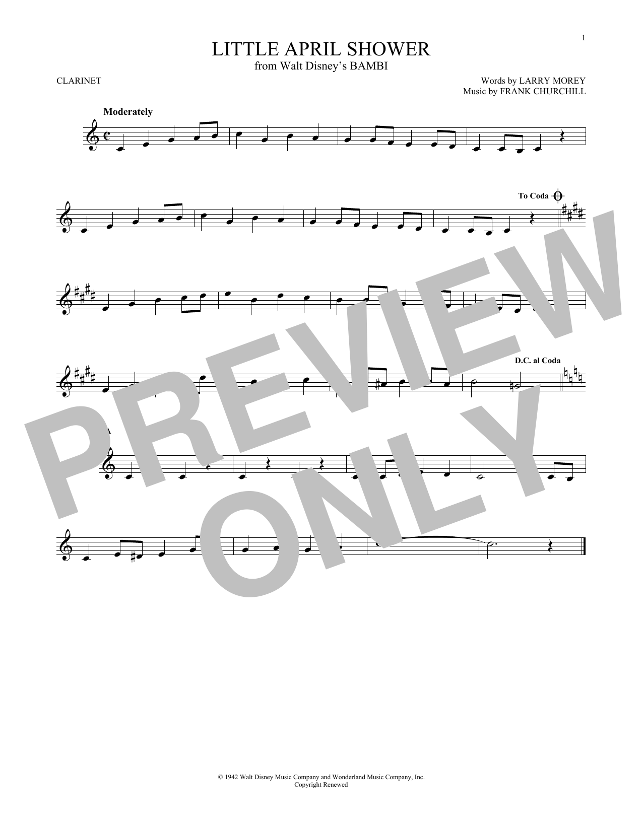 Partition clarinette Little April Shower de Frank Churchill - Clarinette