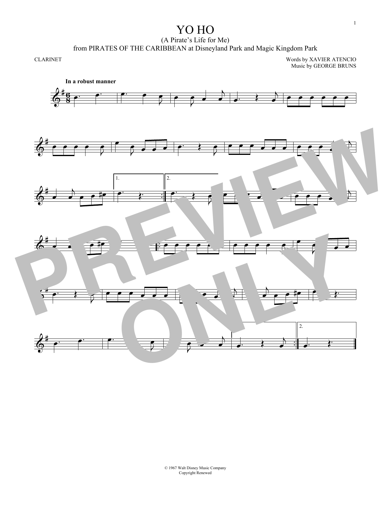 Yo Ho (A Pirate's Life For Me) (Clarinet Solo)