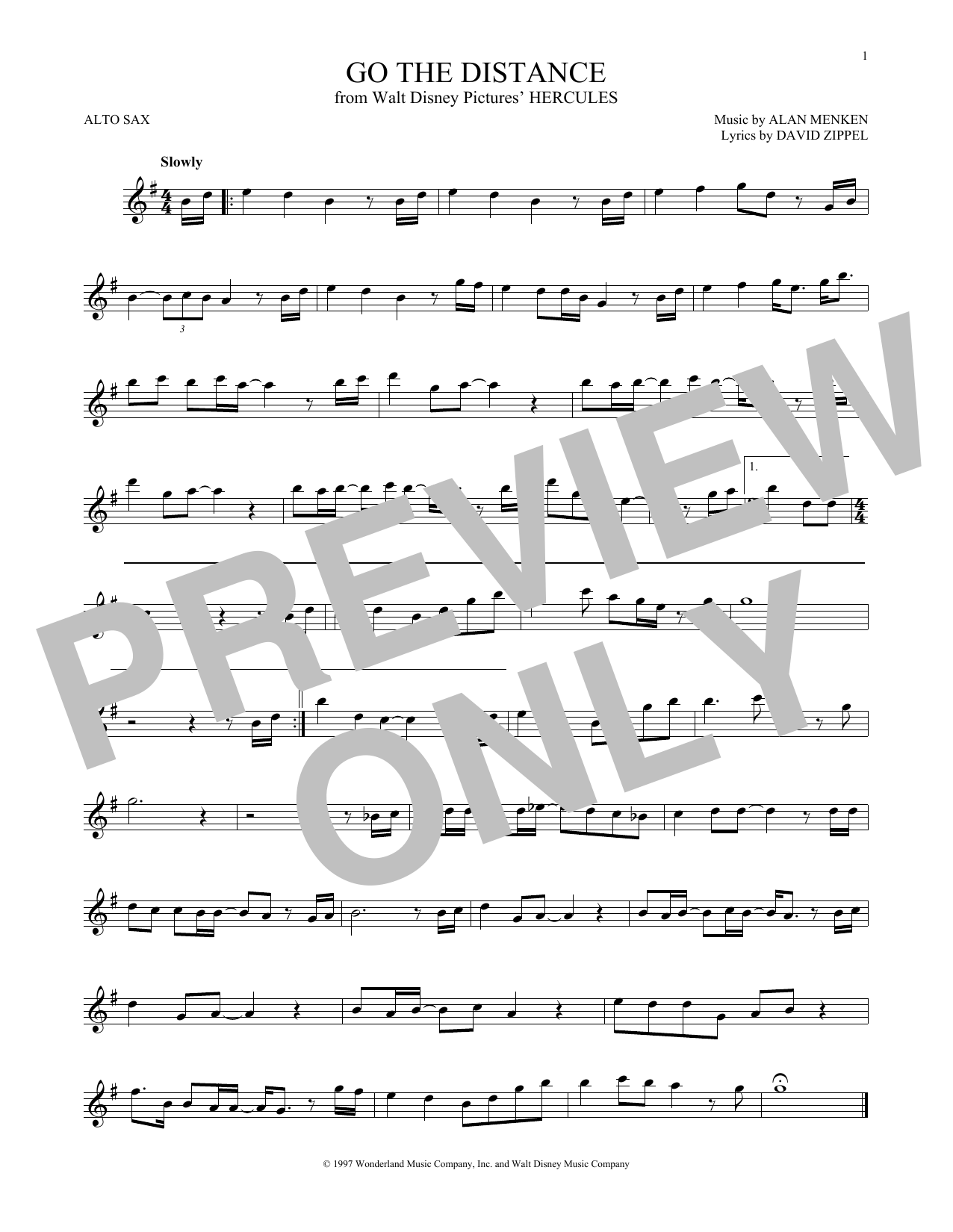 Go The Distance Sheet Music