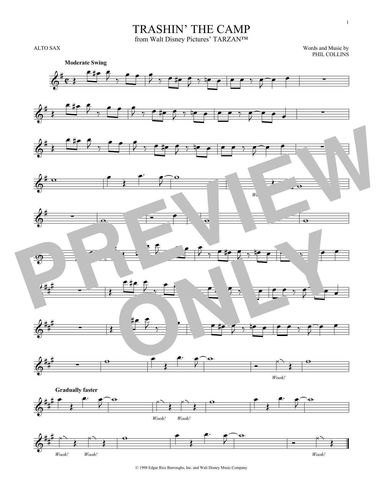 Partition saxophone Trashin' The Camp de Phil Collins - Autre