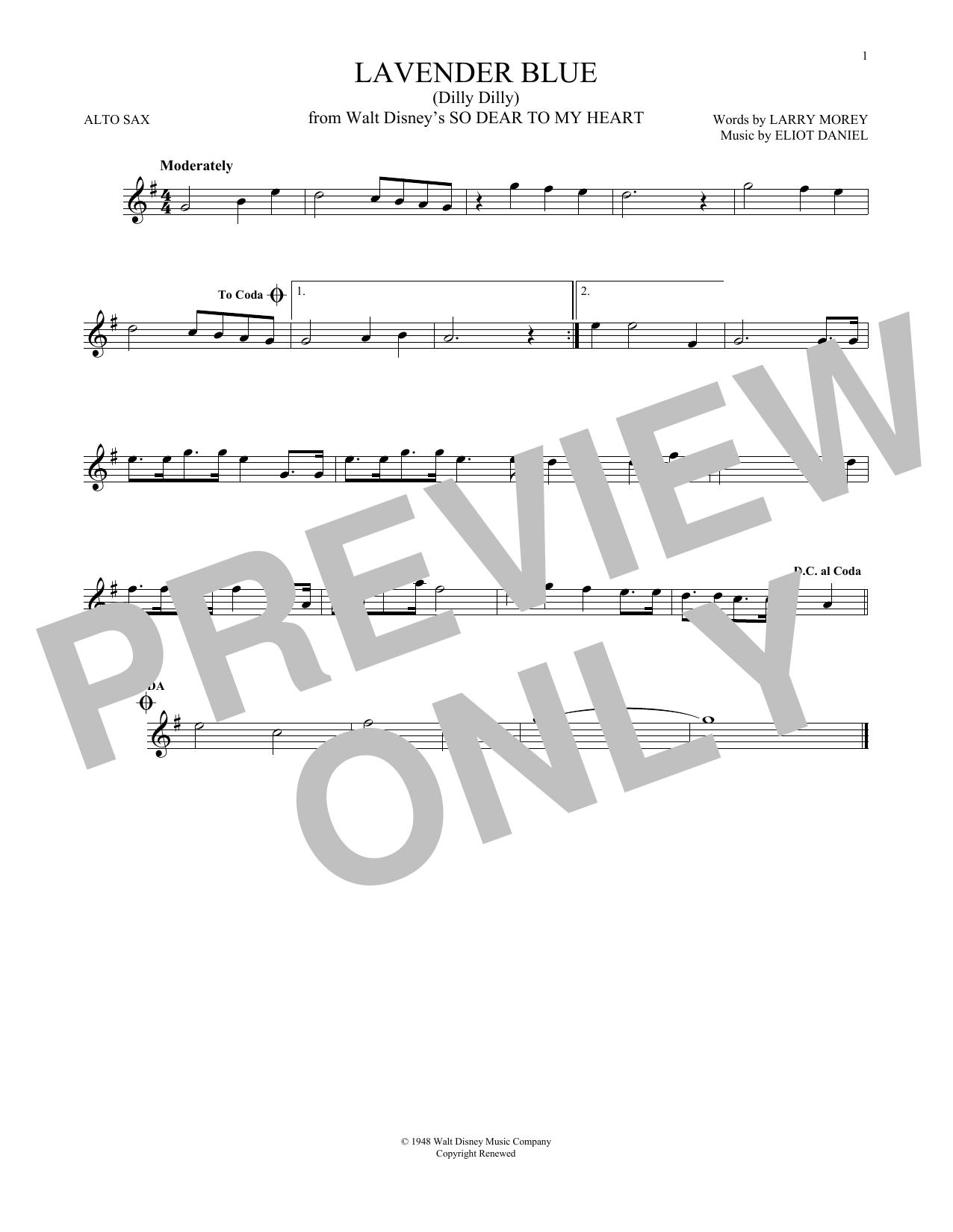 Partition saxophone Lavender Blue (Dilly Dilly) de Sammy Turner - Autre