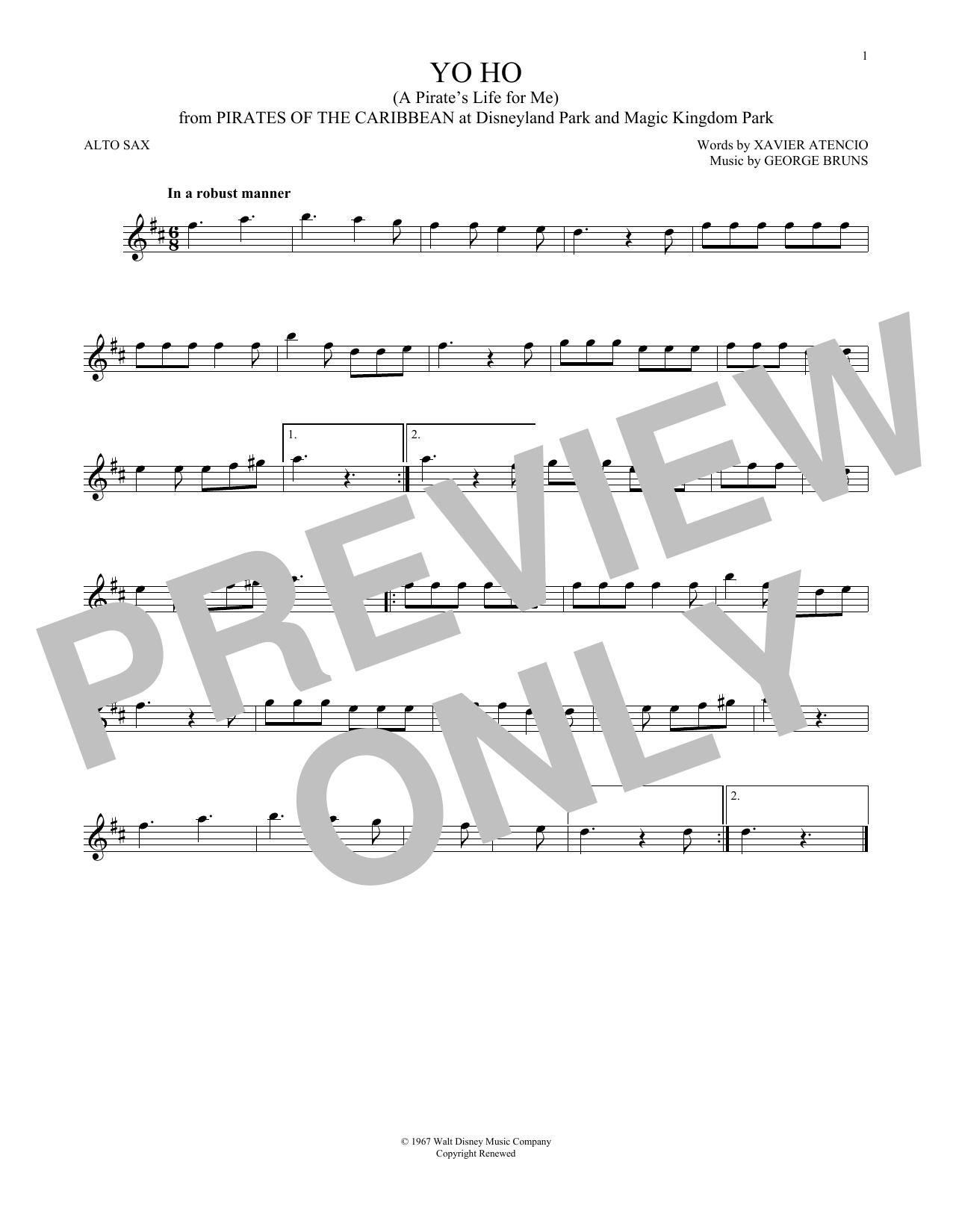 Partition saxophone Yo Ho (A Pirate's Life For Me) de George Bruns - Autre