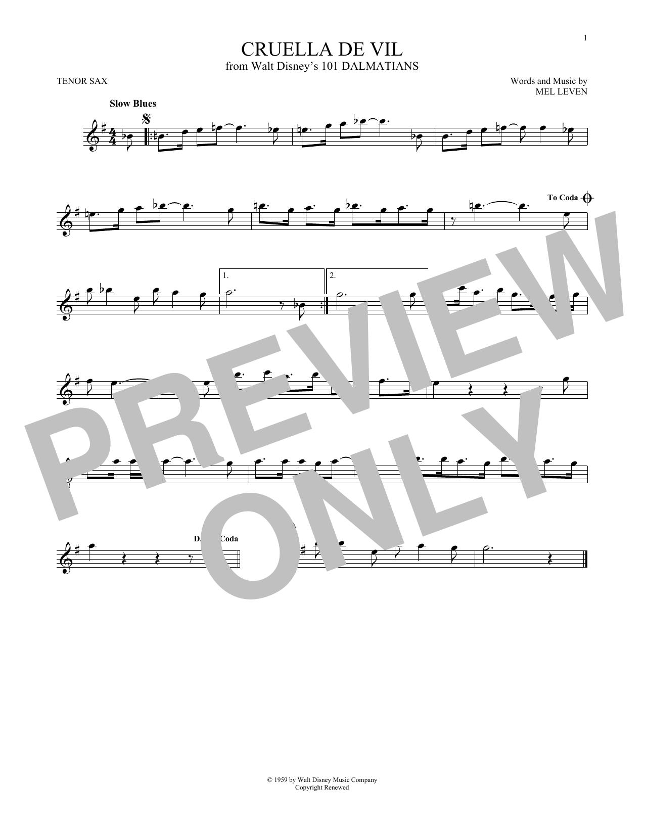 Partition saxophone Cruella De Vil de Mel Leven - Autre