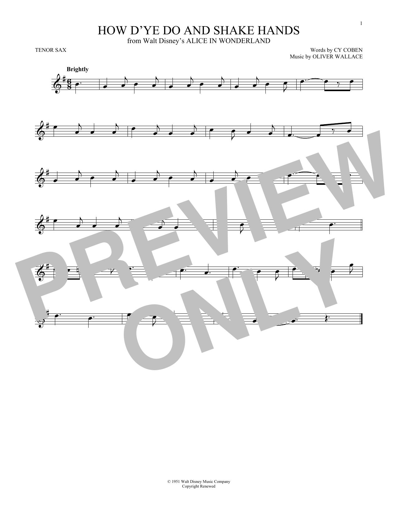 Partition saxophone How D'ye Do And Shake Hands de Cy Coben - Autre