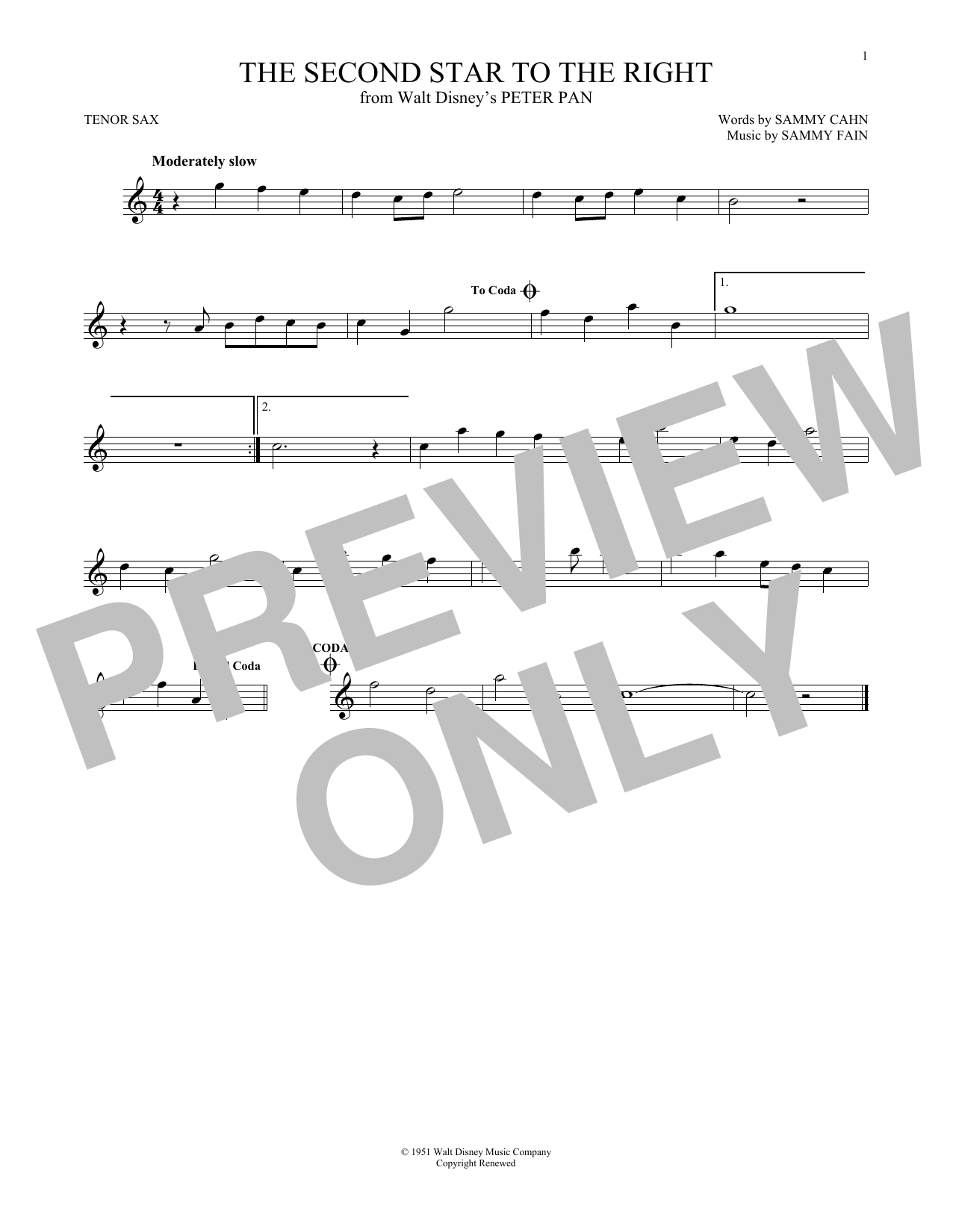 Partition saxophone The Second Star To The Right de Sammy Cahn - Autre