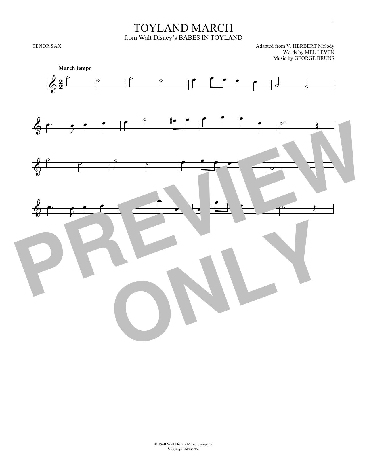 Toyland March (Tenor Sax Solo)