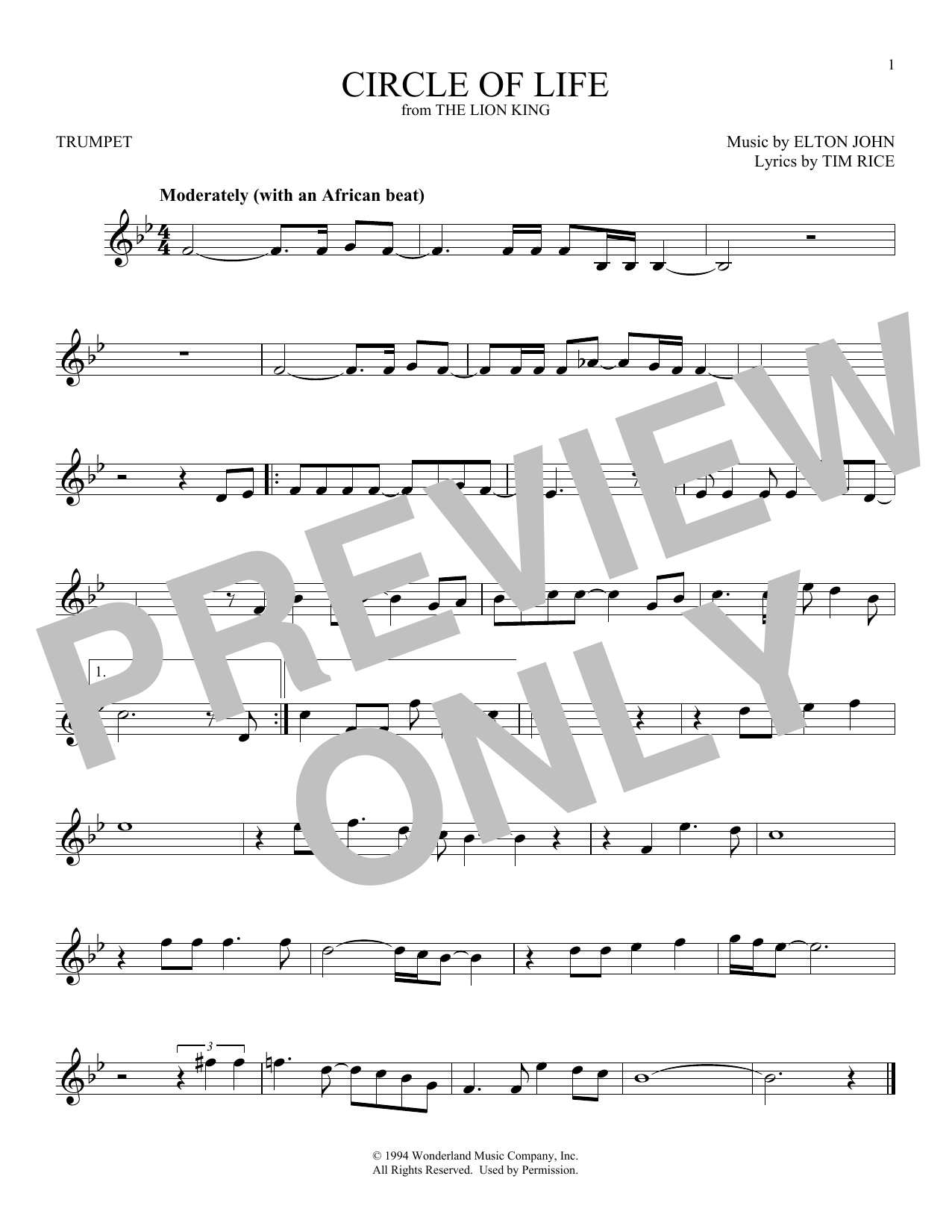 Circle Of Life Sheet Music