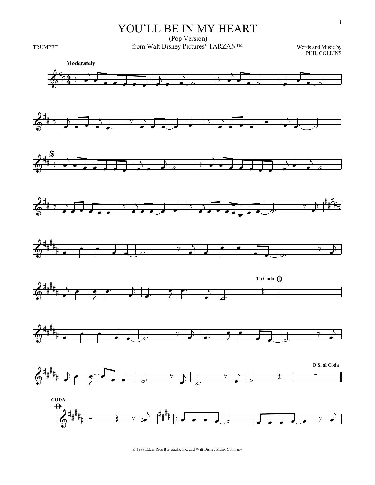 Partition autre You'll Be In My Heart (Pop Version) de Phil Collins - Autre