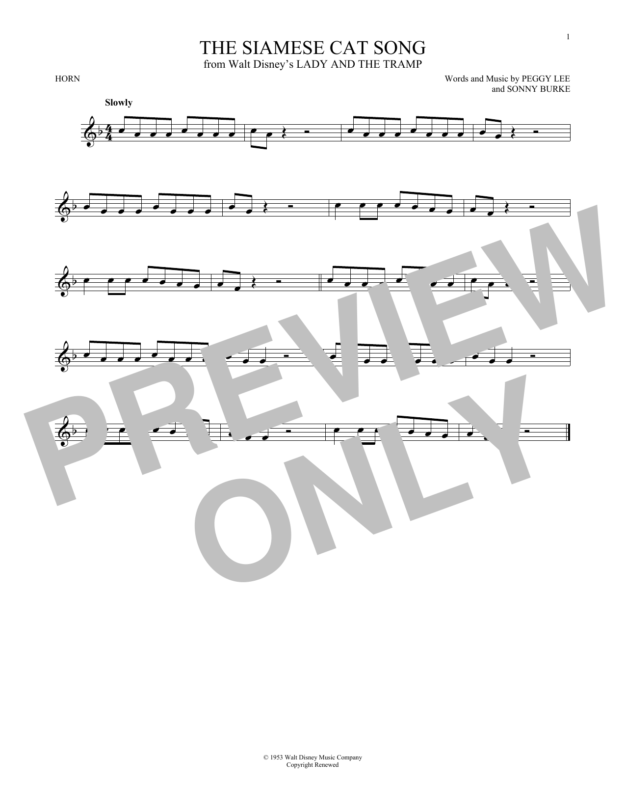 The Siamese Cat Song (from Lady And The Tramp) (French Horn Solo)