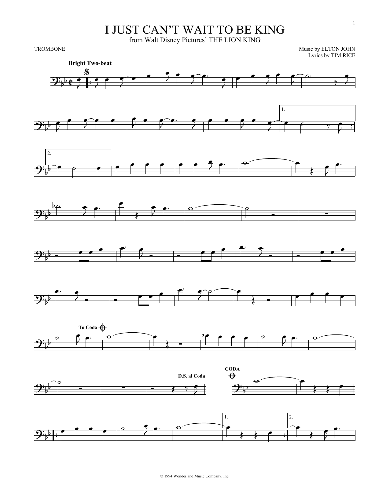 I Just Can't Wait To Be King (from The Lion King) (Trombone Solo)