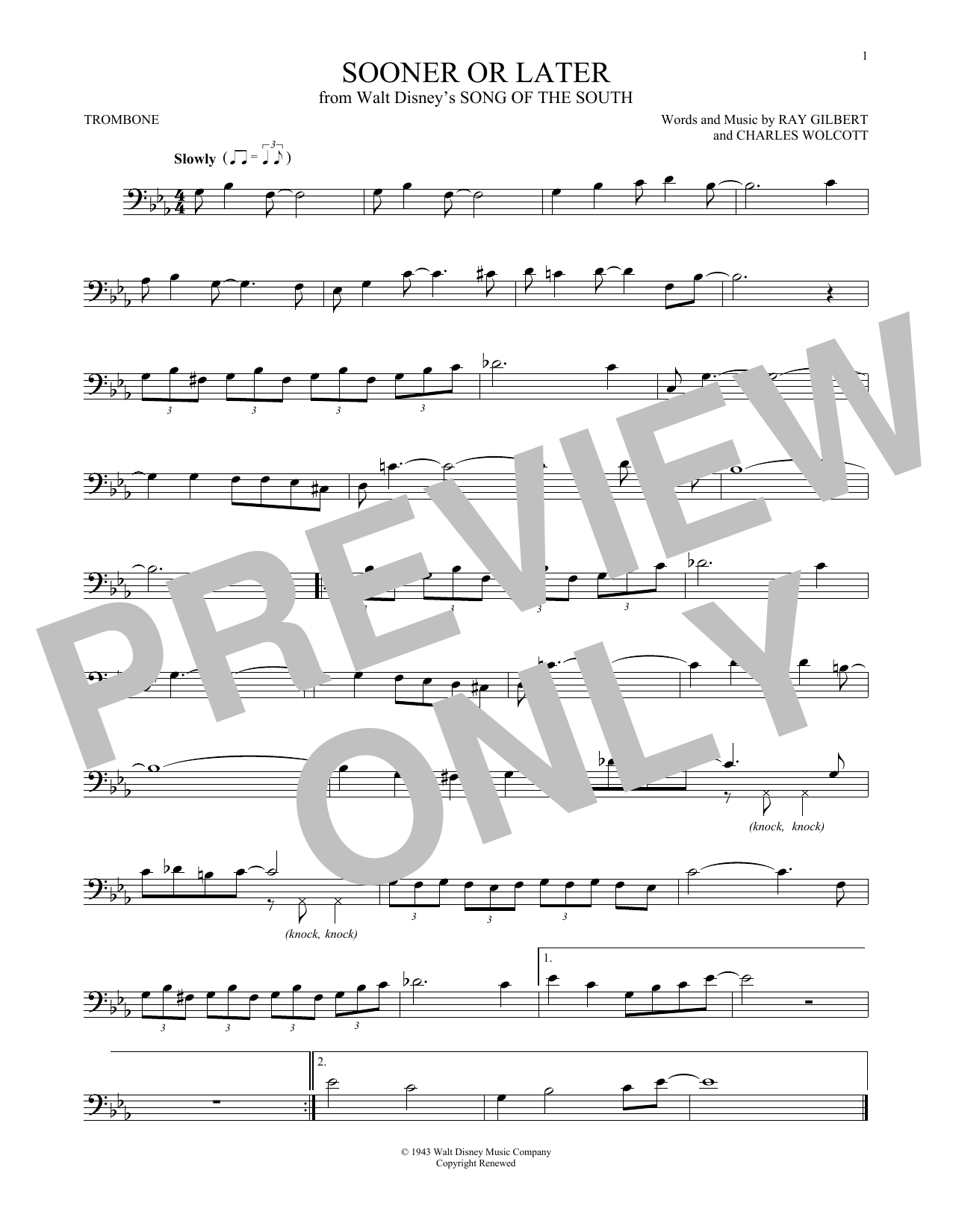 Partition autre Sooner Or Later de Ray Gilbert - Trombone