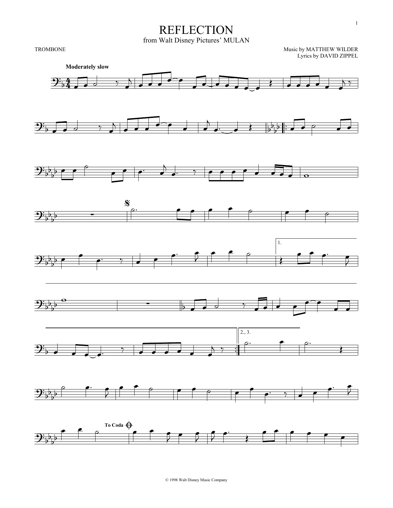 Partition autre Reflection de Christina Aguilera - Trombone