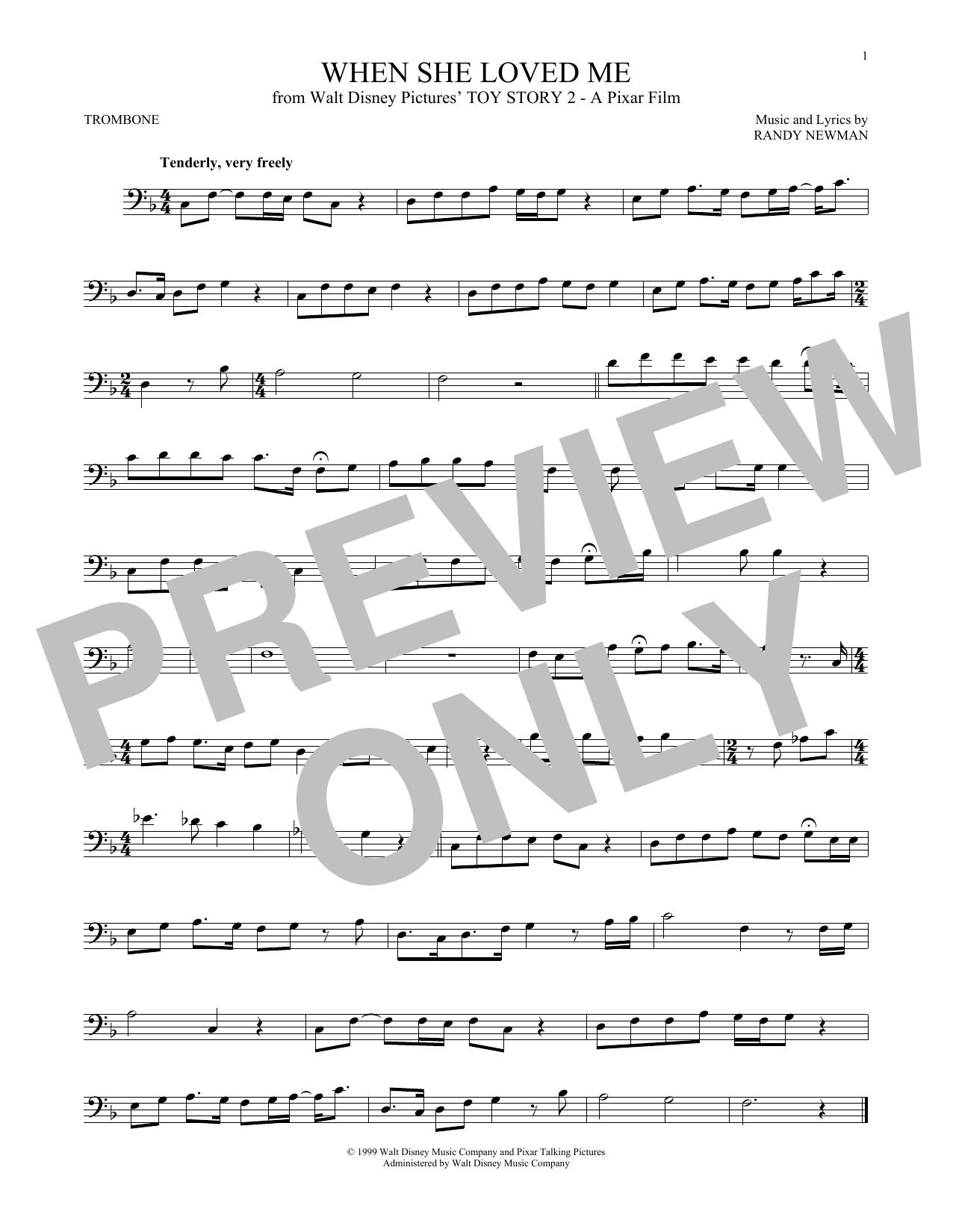 Partition autre When She Loved Me de Sarah McLachlan - Trombone