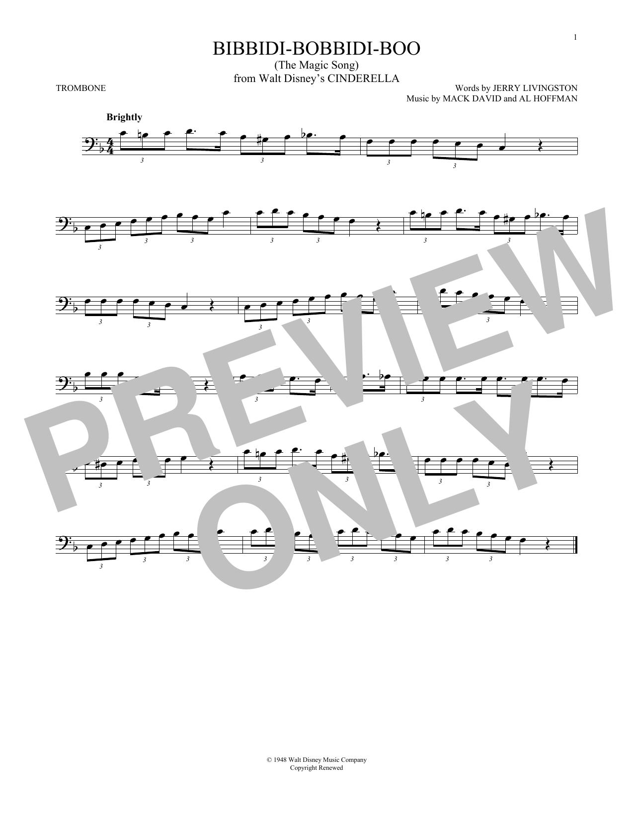 Bibbidi-Bobbidi-Boo (The Magic Song) (from Disney's Cinderella) (Trombone Solo)