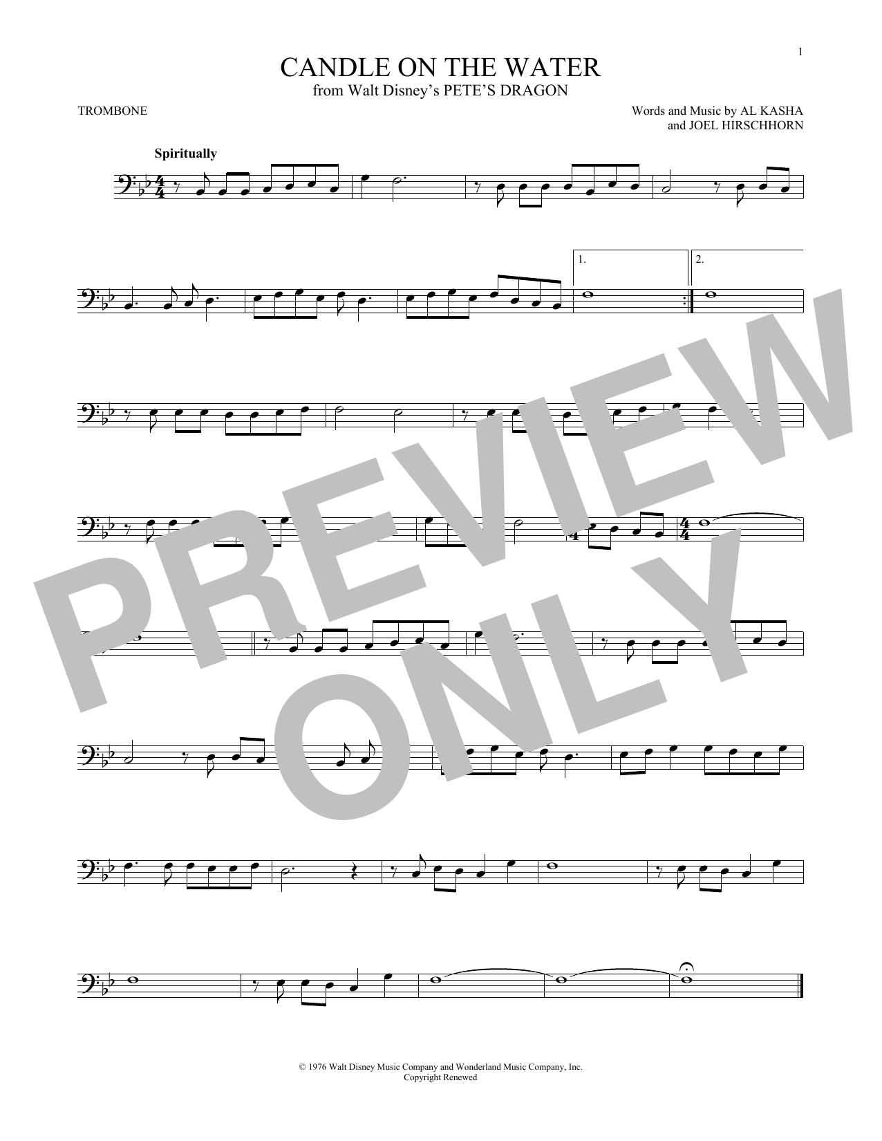 Partition autre Candle On The Water (from Walt Disney's Pete's Dragon) de Kasha & Hirschhorn - Trombone