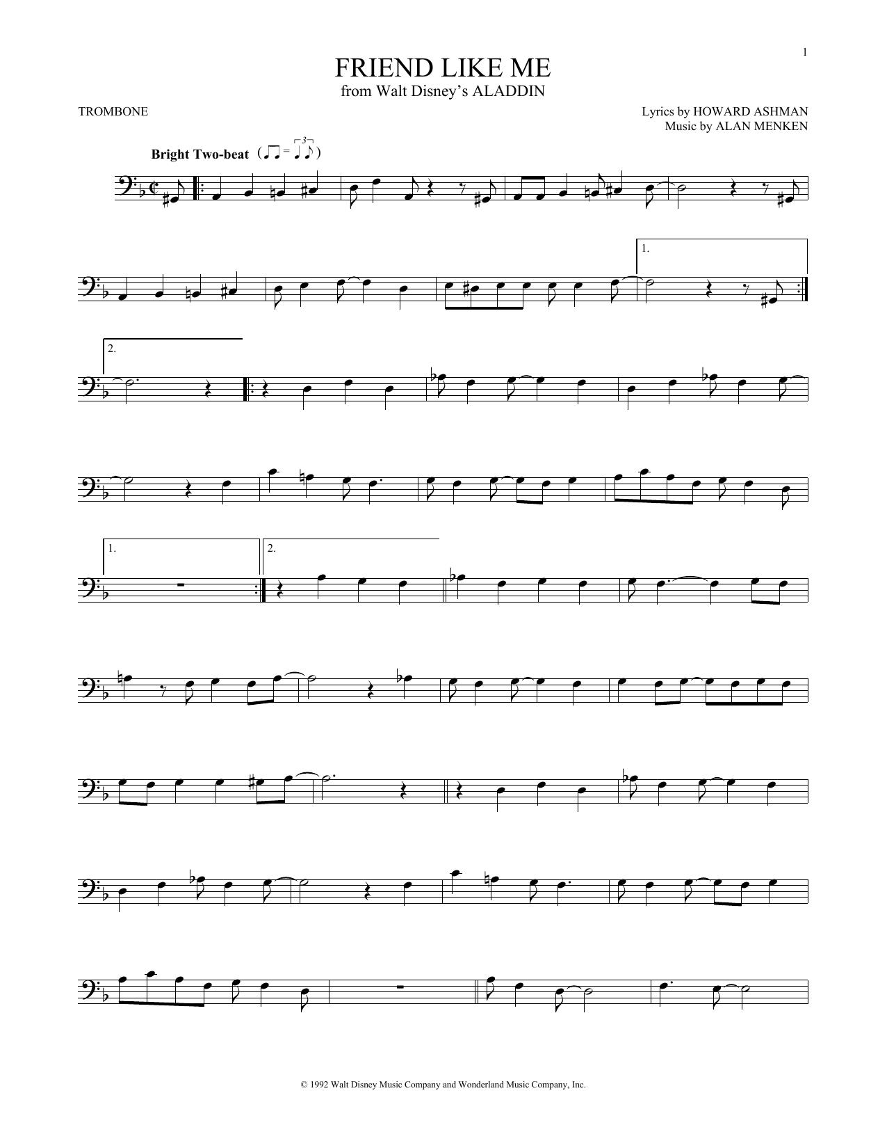 Partition autre Friend Like Me de Alan Menken - Trombone