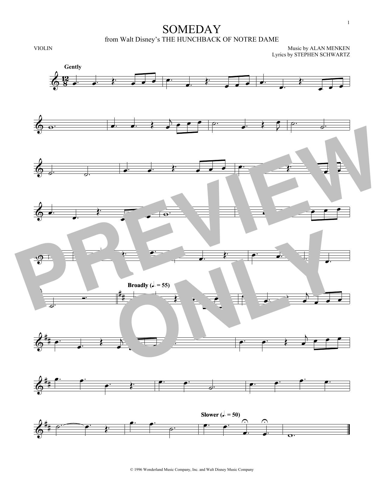 Partition autre Someday (Esmeralda's Prayer) de Alan Menken - Autre