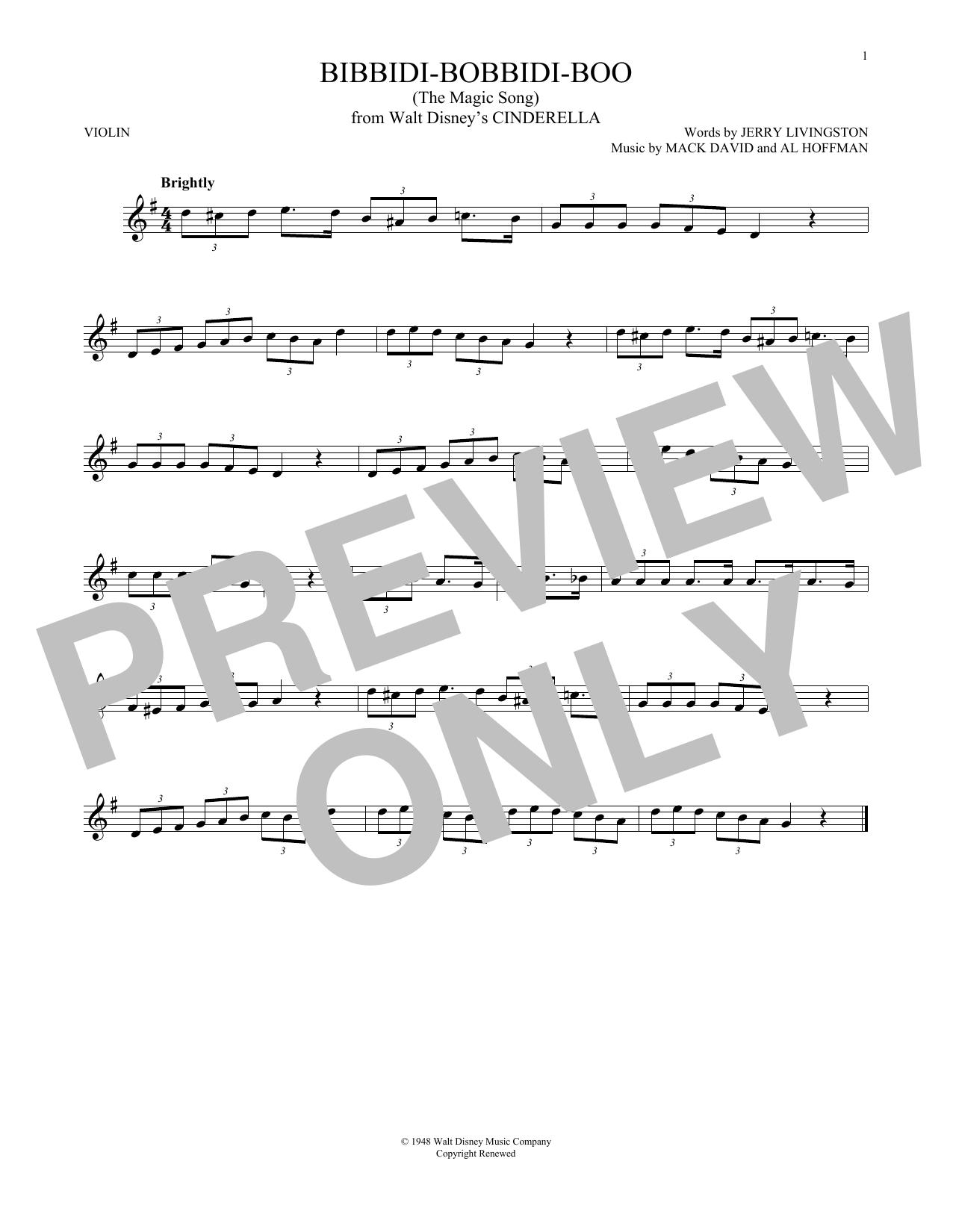 Bibbidi-Bobbidi-Boo (The Magic Song) (from Disney's Cinderella) (Violin Solo)