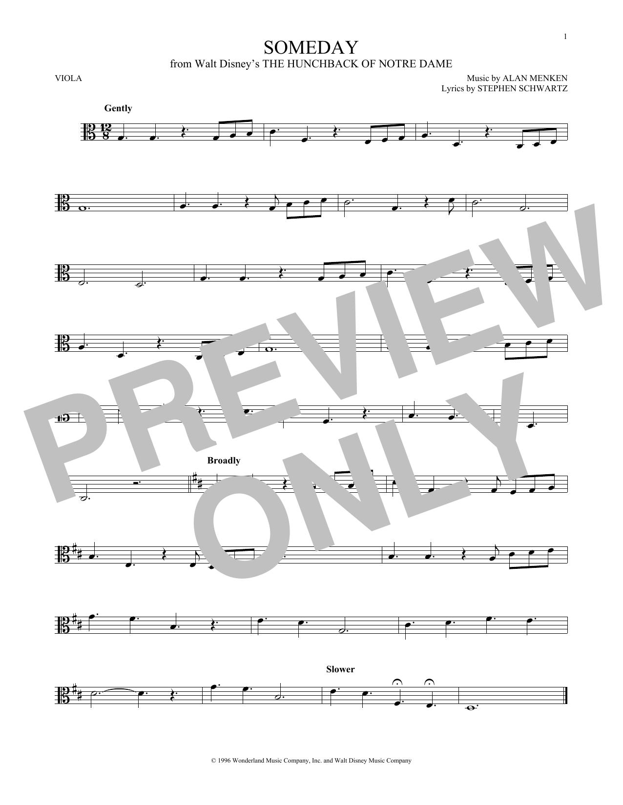 Someday (Esmeralda's Prayer) (Viola Solo)