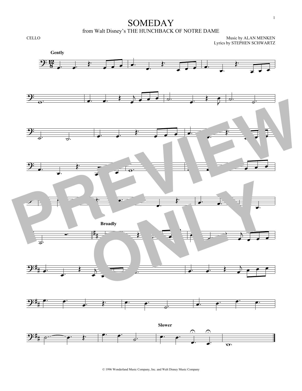 Someday (Esmeralda's Prayer) (Cello Solo)