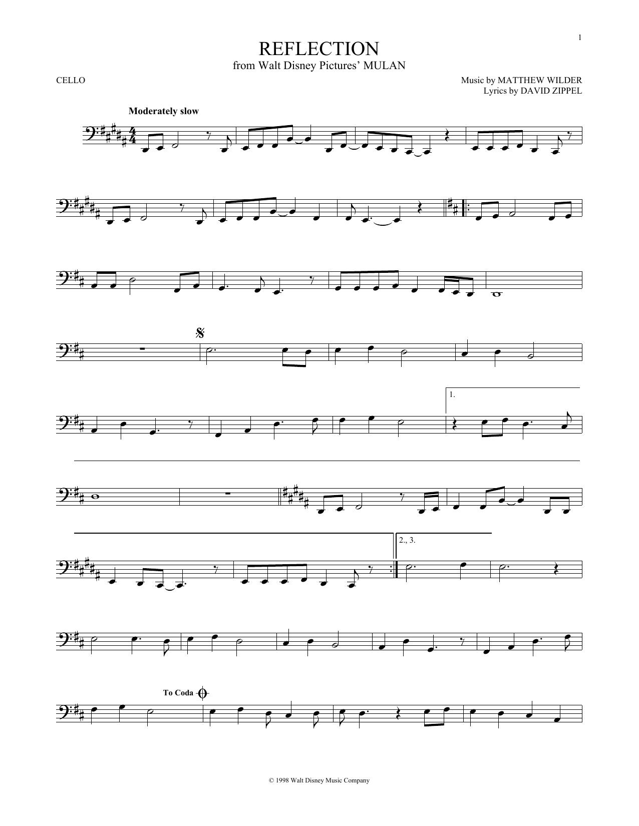 Partition autre Reflection de Christina Aguilera - Violoncelle