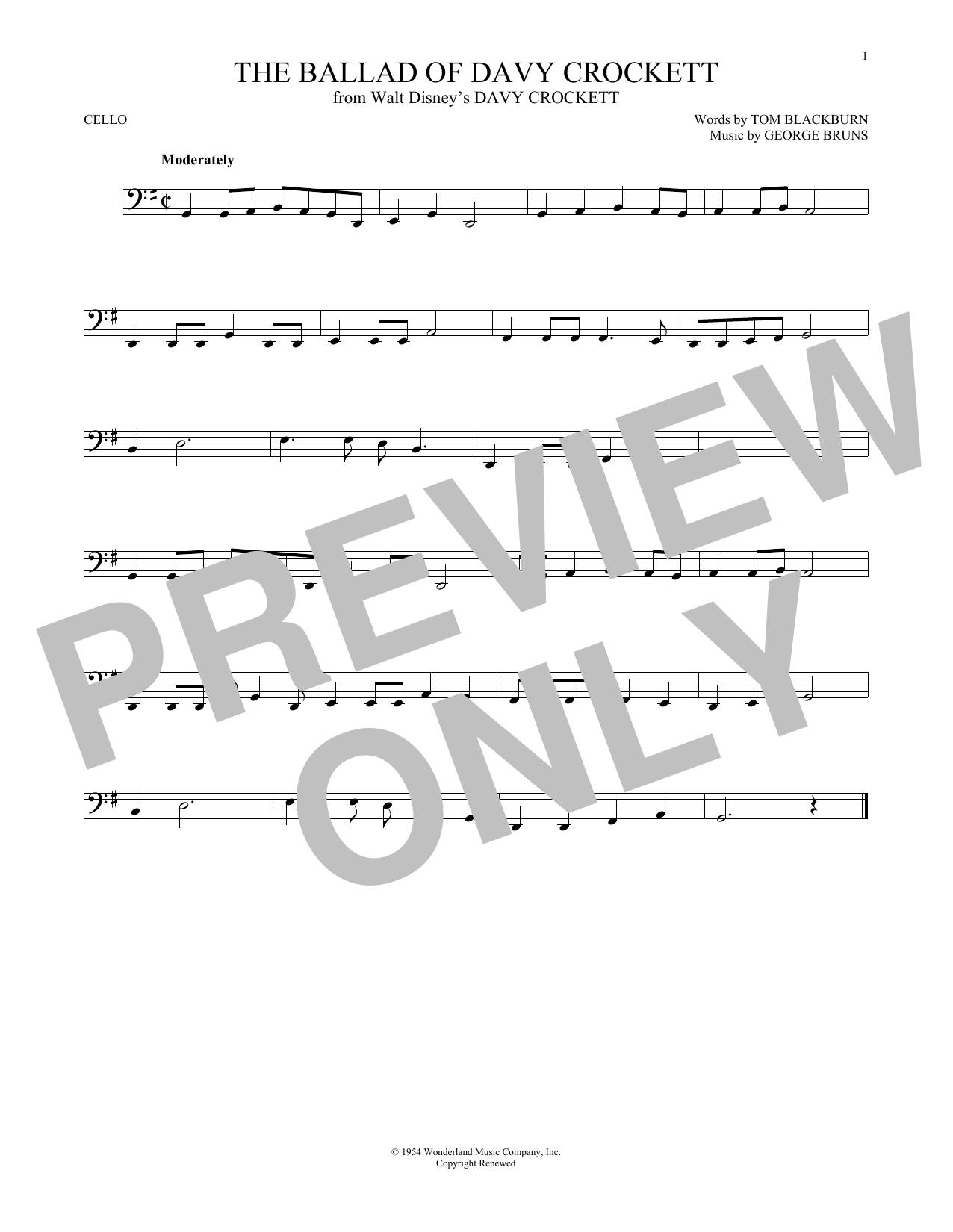 Partition autre The Ballad Of Davy Crockett de George Bruns - Violoncelle