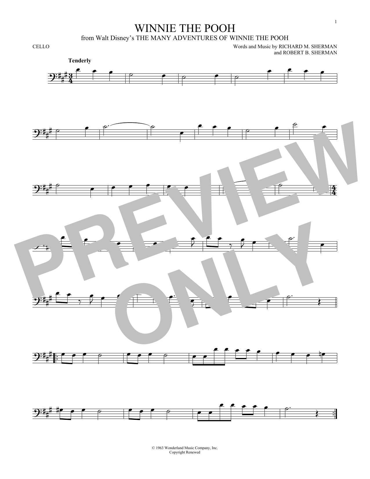 Partition autre Winnie The Pooh de Richard M. Sherman - Violoncelle