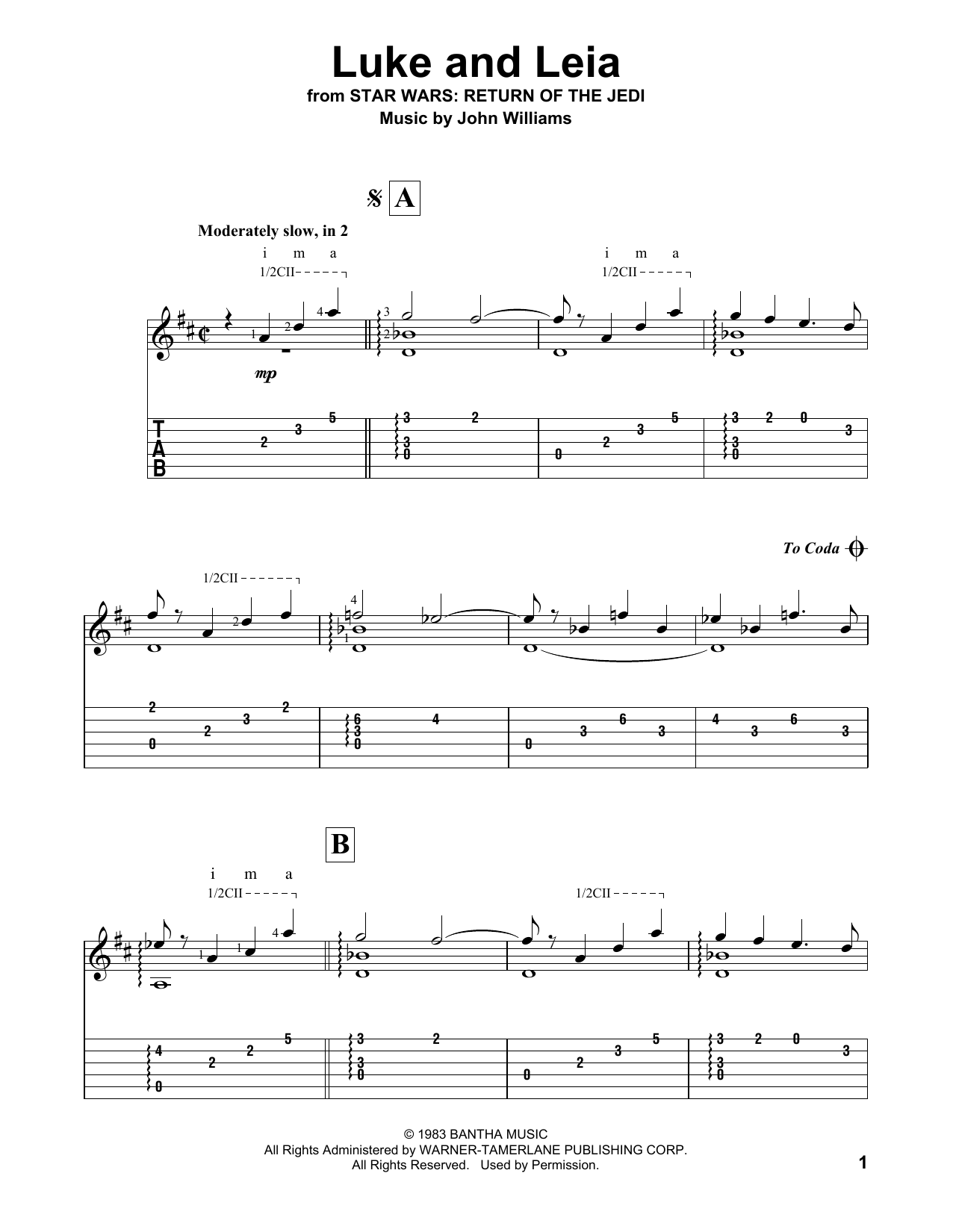 Luke And Leia Sheet Music John Williams Guitar Tab